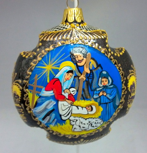 Russia Christmas Ornaments.Nativity Cross Shaped Russian Hand Painted Ceramic Christmas