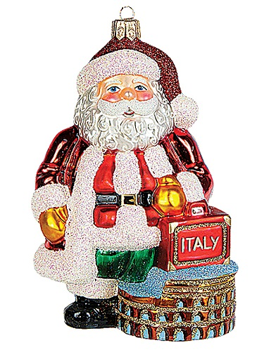 santa in rome polish mouth blown glass christmas ornament - Italian Christmas Ornaments