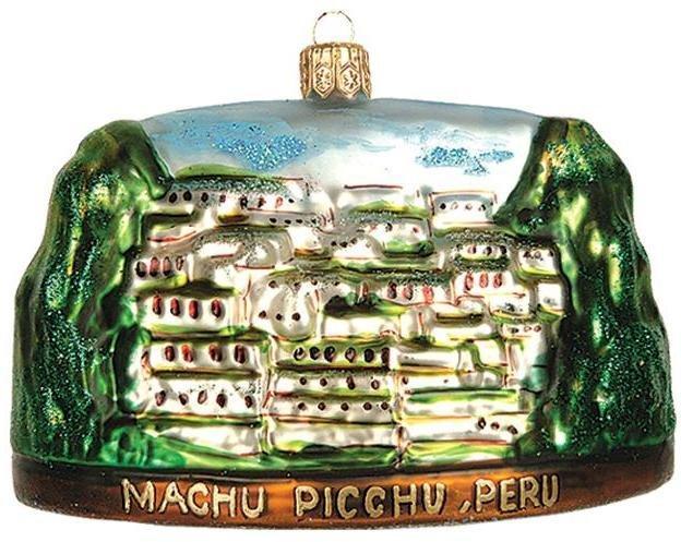 Machu Picchu Peru Travel Polish Glass Christmas Ornament