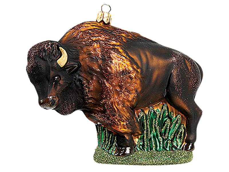 American Bison Buffalo Polish Mouth Blown Glass Christmas Ornament