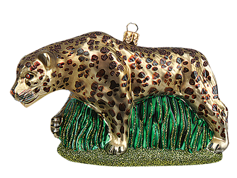 - Leopard Polish Mouth Blown Glass Christmas Ornament