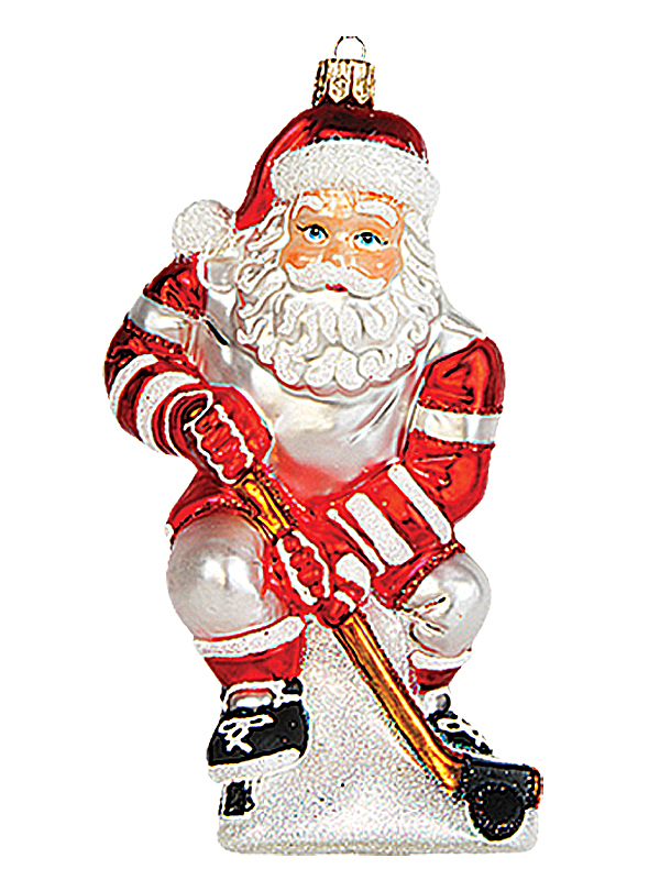 hockey player santa polish mouth blown glass christmas ornament
