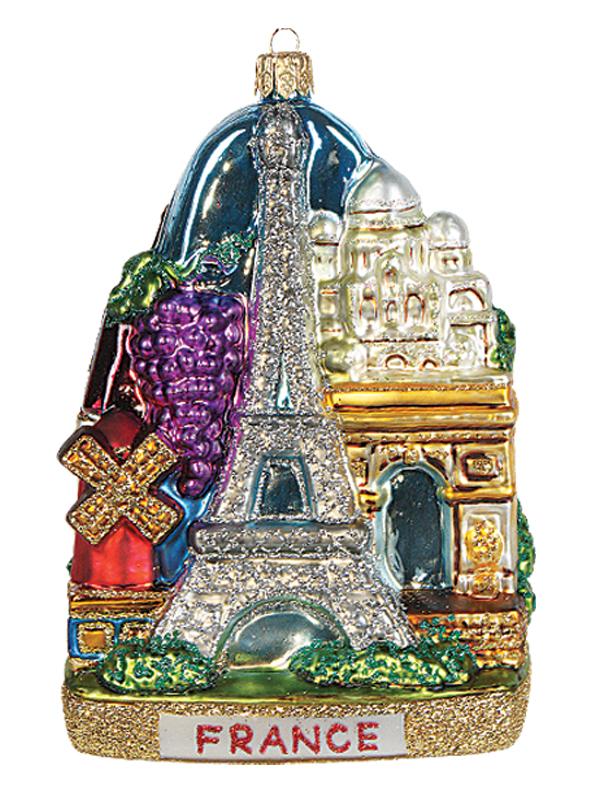 France Landscape Polish Mouth Blown Glass Christmas Ornament