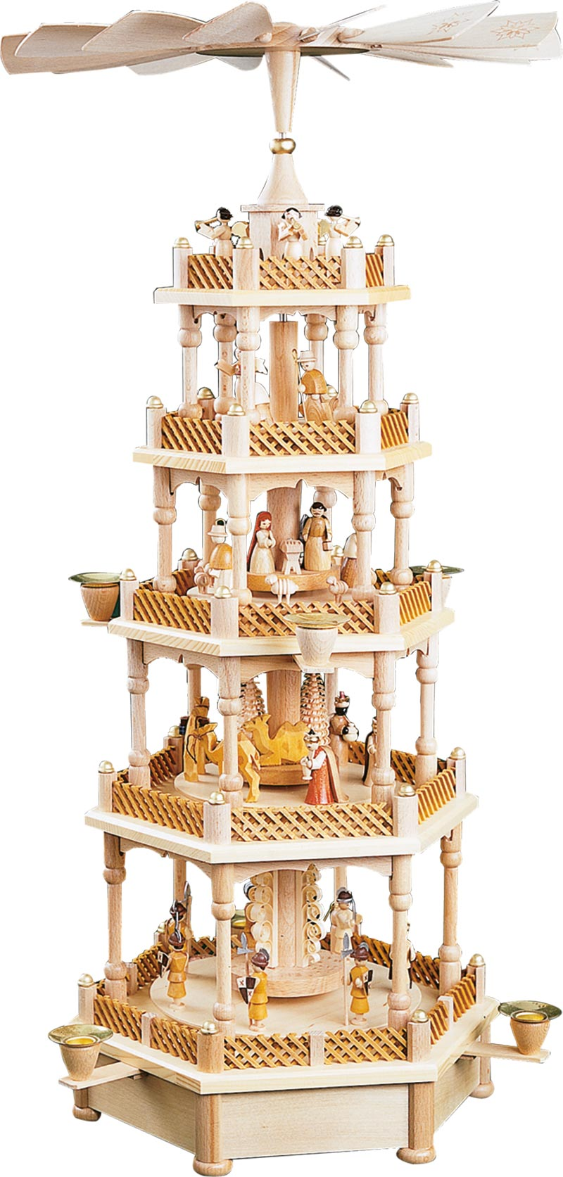 Christmas Pyramid.4 Tier Musical Silent Night Nativity Natural German Wood