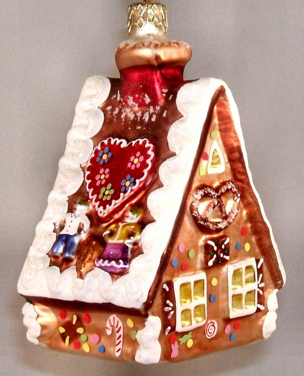 XGG61-37533 Handpainted Gingerbread House Polish Glass ...