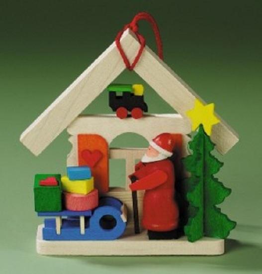 Santa House Sled German Wood Christmas Tree Ornament