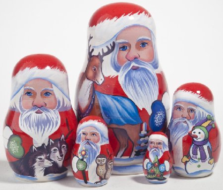 PINNACLE PEAK Yukon Santa 5 Piece Russian Wood Nesting Doll at Sears.com