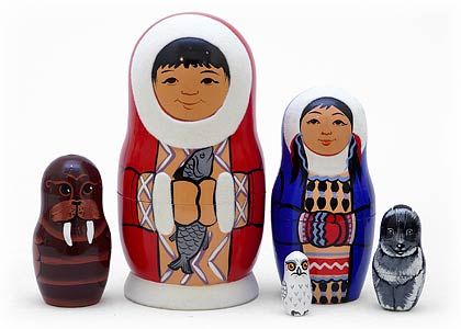 PINNACLE PEAK Eskimo 5 Piece Russian Wood Nesting Doll at Sears.com