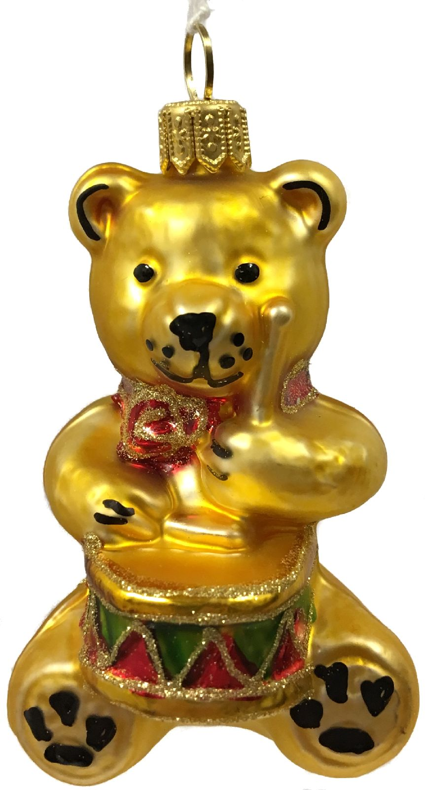 Teddy Bear with Drums Czech Glass Christmas Tree Ornament Music Toy ...