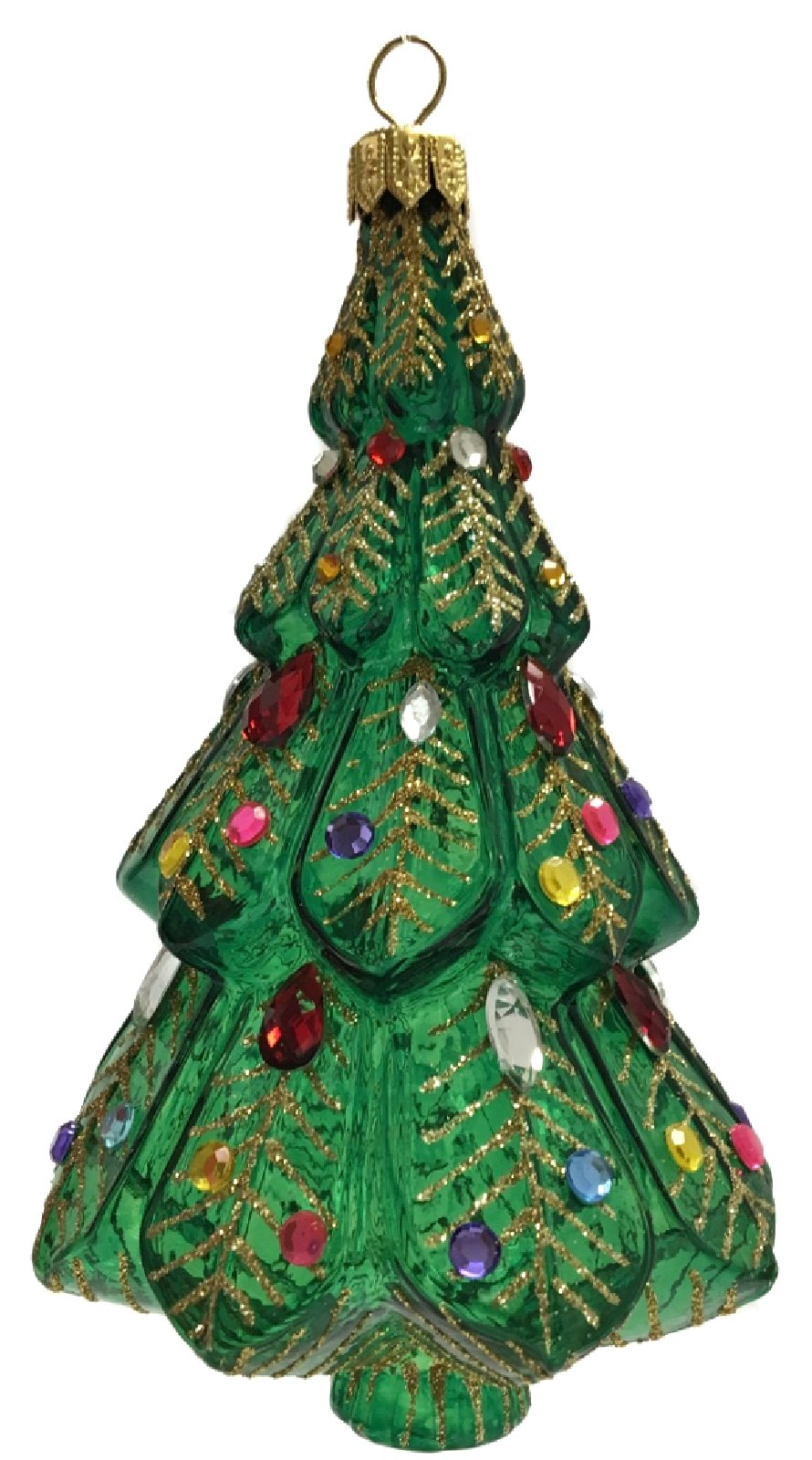 Clear Green and Gold Jeweled Christmas Tree Polish Glass Ornament ...