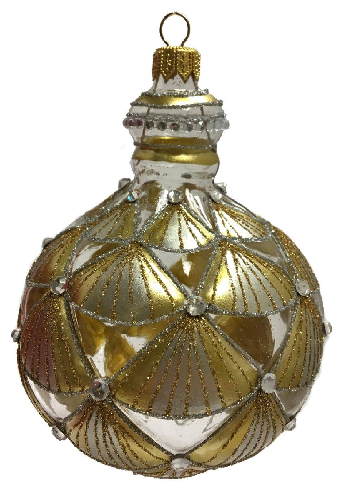 Clear and Gold Jeweled Pomegranate Shape Polish Glass Christmas Tree ...