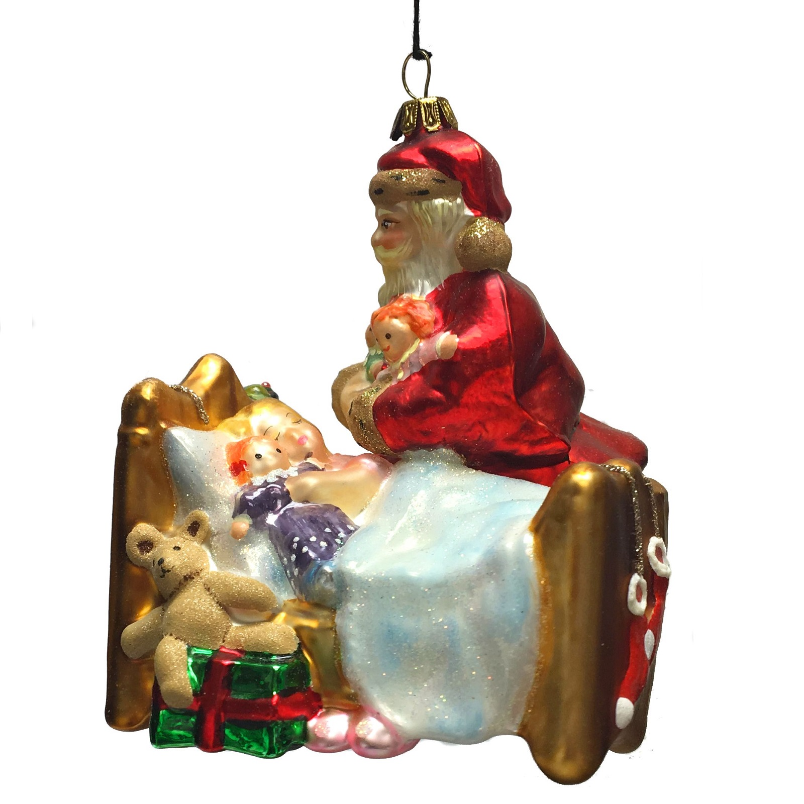 Santa By The Bed With Sleeping Child Polish Glass Christmas Tree