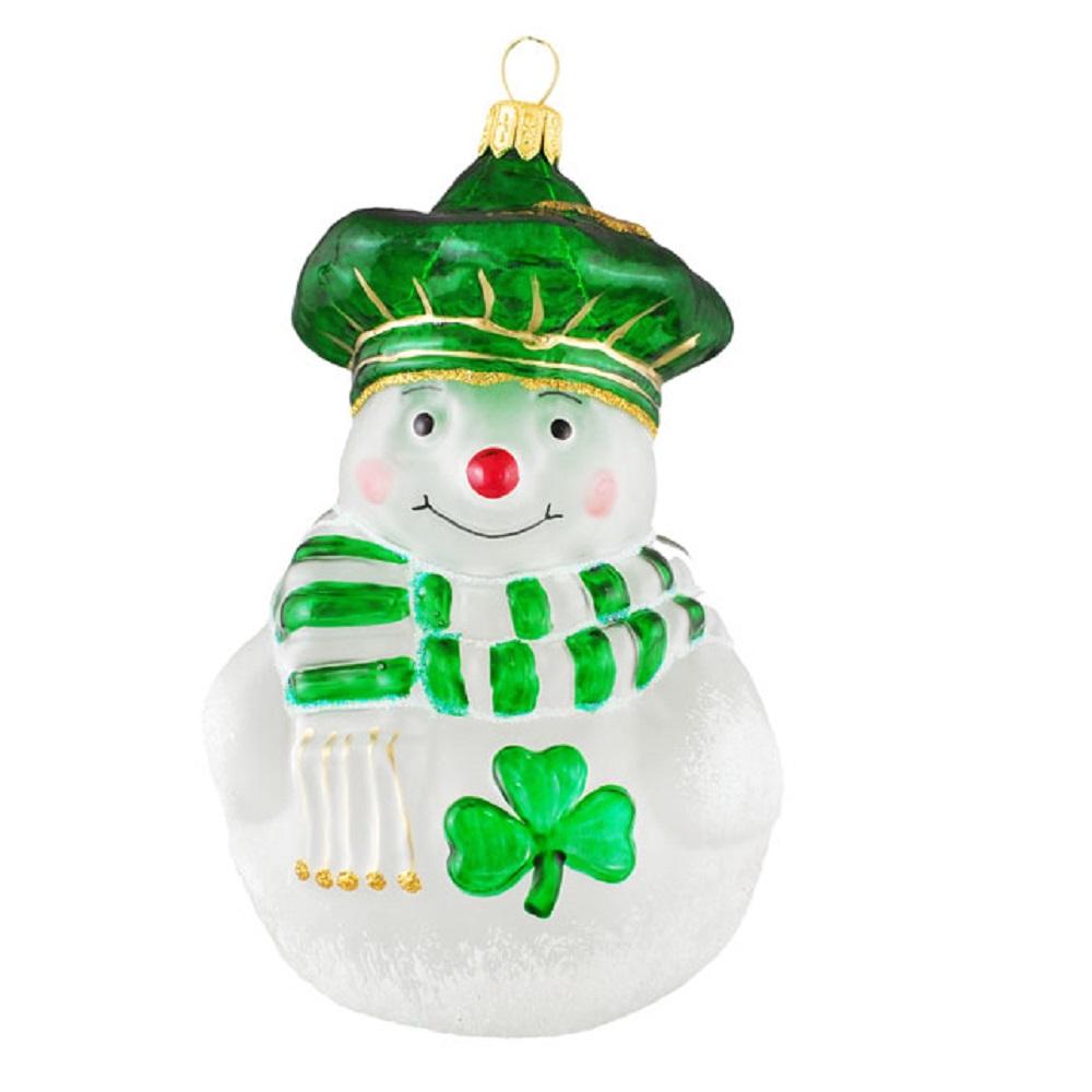Irish Snowman with Shamrock Polish Glass Christmas Tree Ornament ...