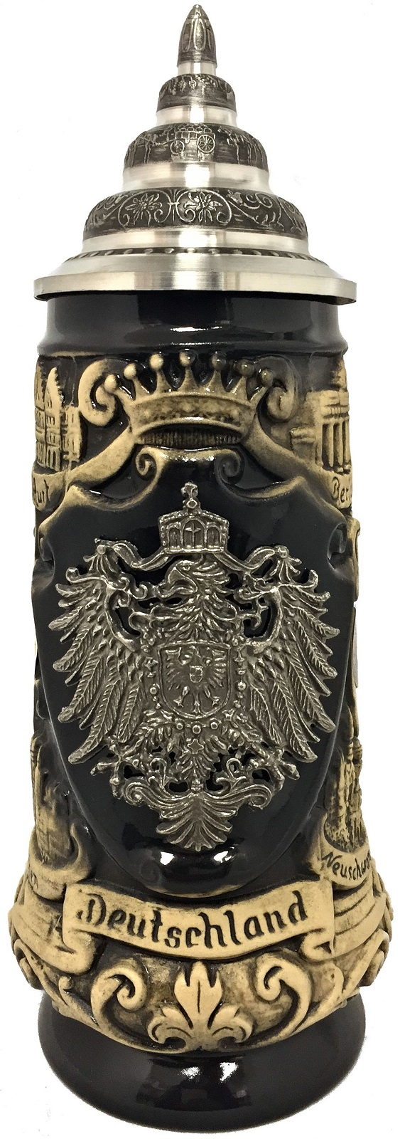 rustic deutschland germany pewter eagle with cities le german beer stein 3 l. Black Bedroom Furniture Sets. Home Design Ideas