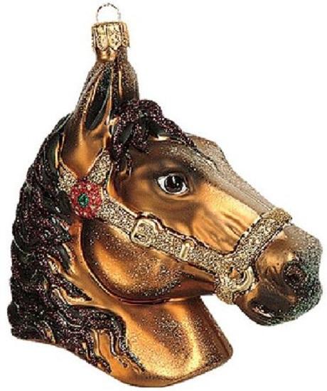 Equestrian Horse Head Polish Glass Christmas Ornament