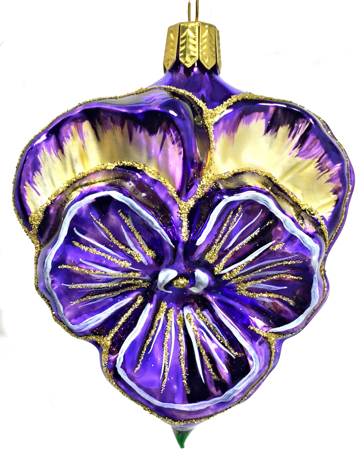 Purple and Gold Pansy Flower German Glass Christmas Tree ...