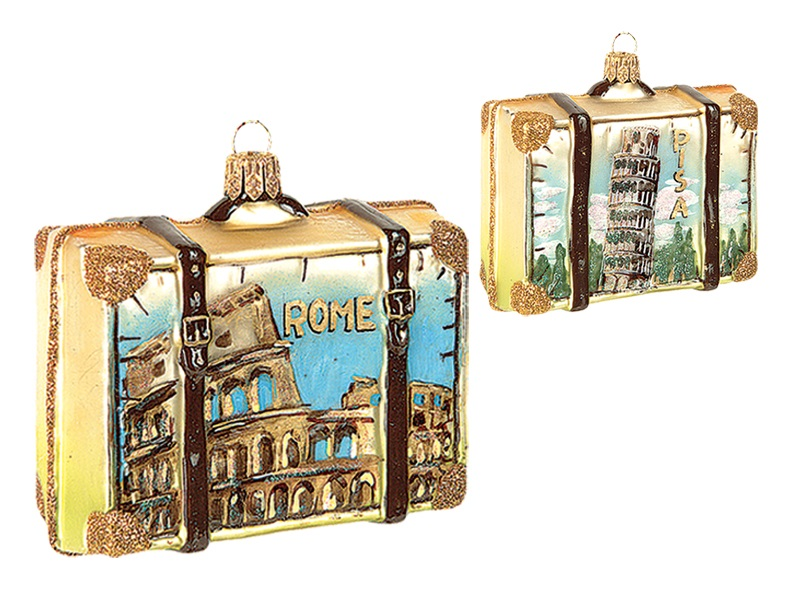 Roman Christmas Ornaments.Rome Italy Travel Suitcase Polish Mouth Blown Glass