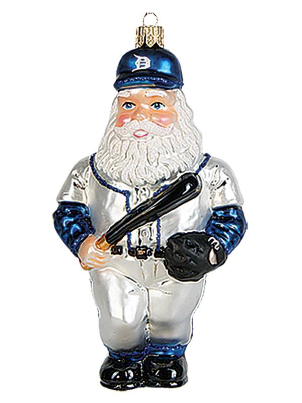 Baseball player santa claus polish mouth blown glass