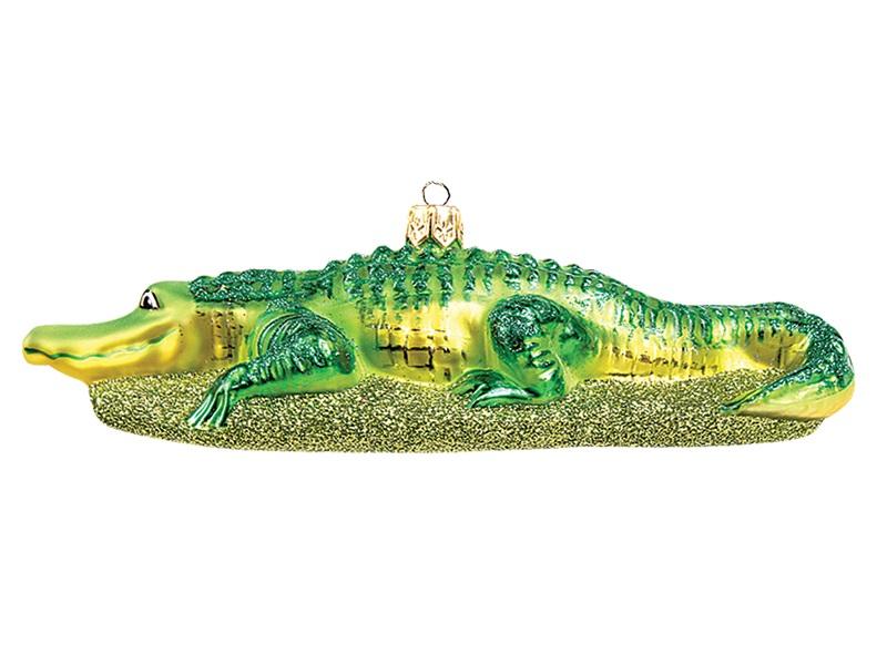 Alligator Wildlife Polish Mouth Blown Glass Christmas Ornament