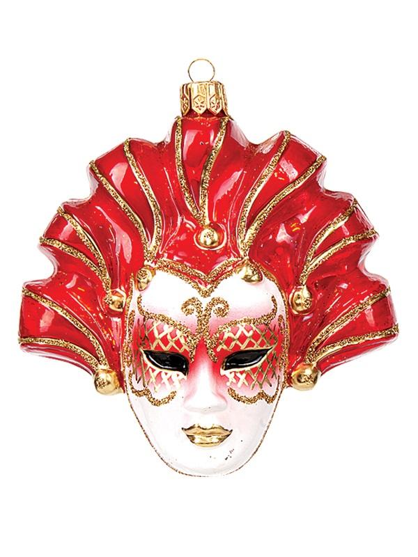 Red Venetian Mask Polish Mouth Blown Glass Christmas Ornament