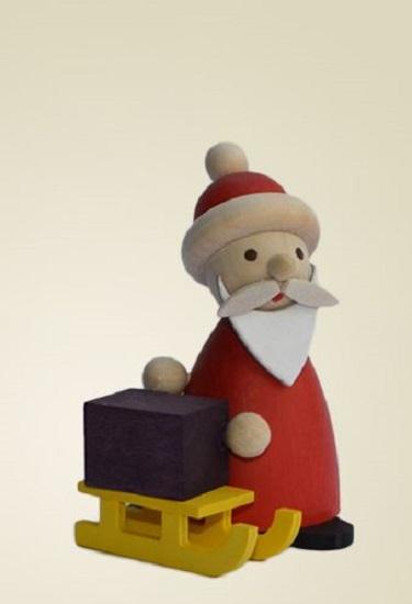 Erzgebirge santa claus with sled german wood miniature