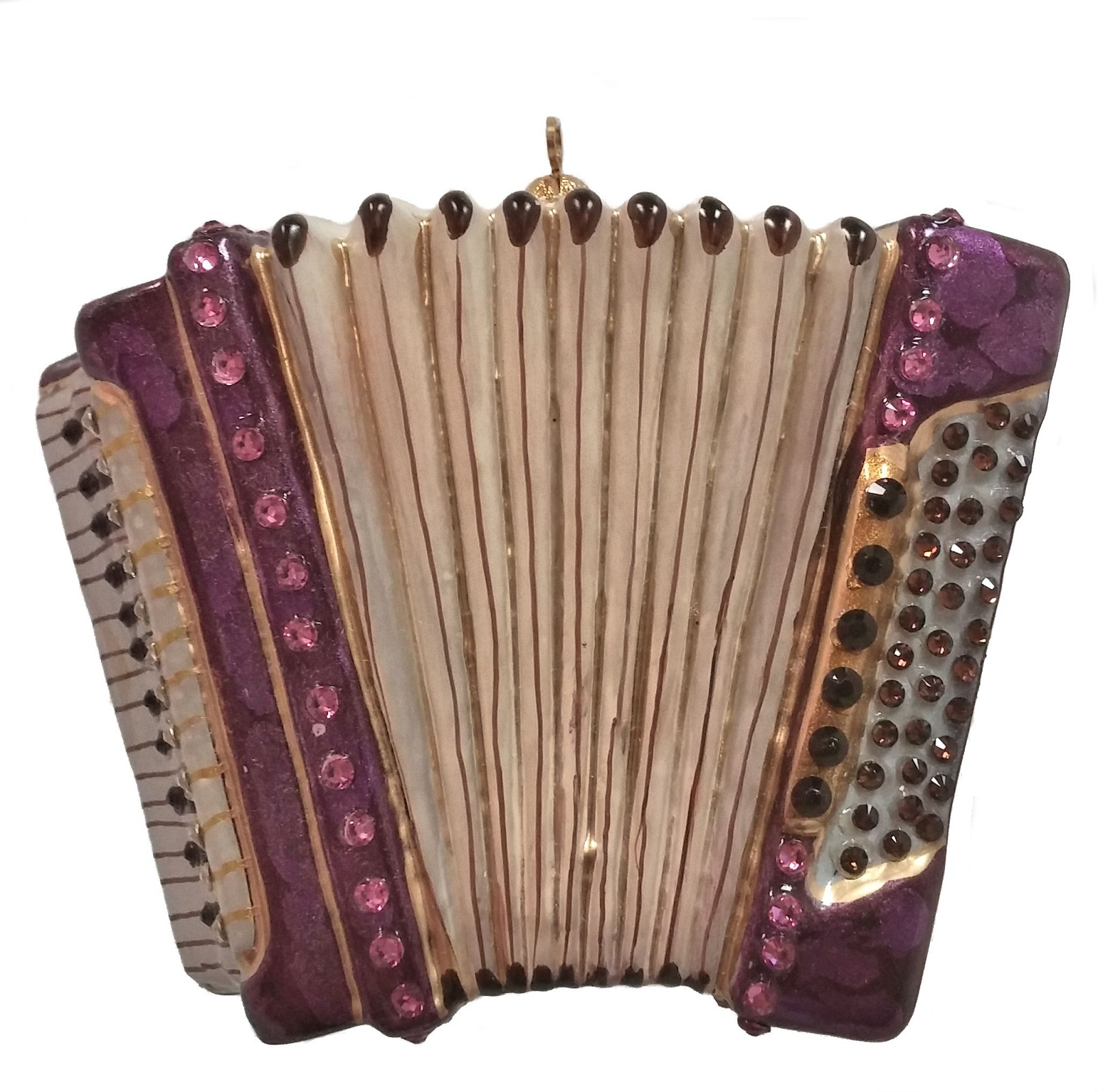 Polish glass ornaments - Accordion Musical Instrument Polish Mouth Blown Glass Christmas Ornament