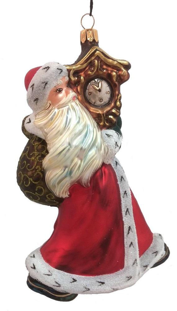 Santa claus carrying a clock polish mouth blown glass