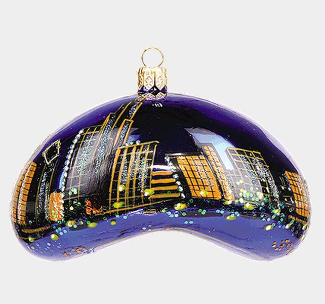 chicago bean during the night polish mouth blown glass christmas ornament - Chicago Christmas Ornaments