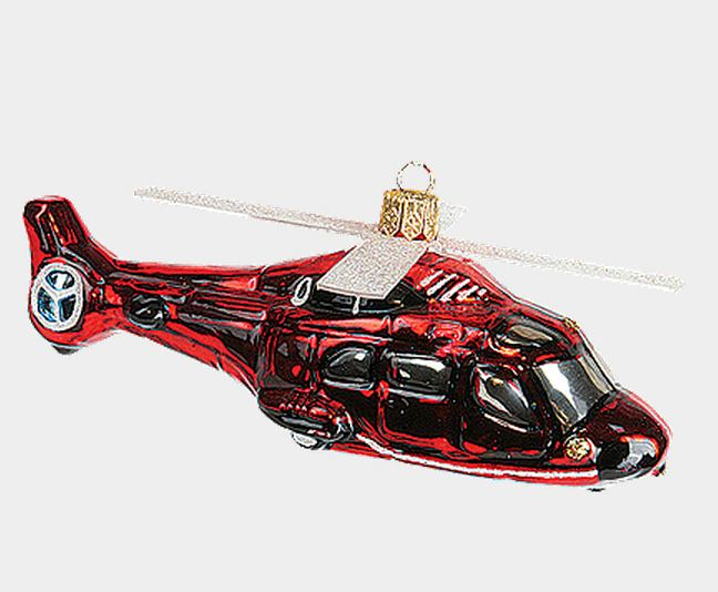 - Red Helicopter Aircraft Polish Mouth Blown Glass Christmas Ornament