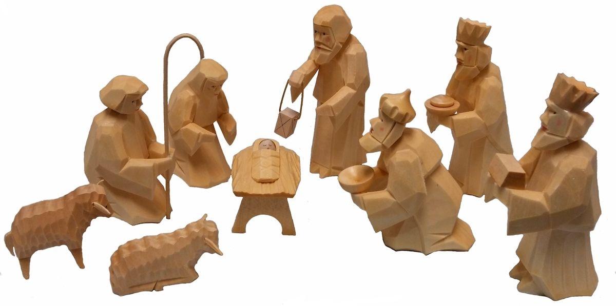 Hand Carved German Wood Christmas Nativity 9 Piece Set