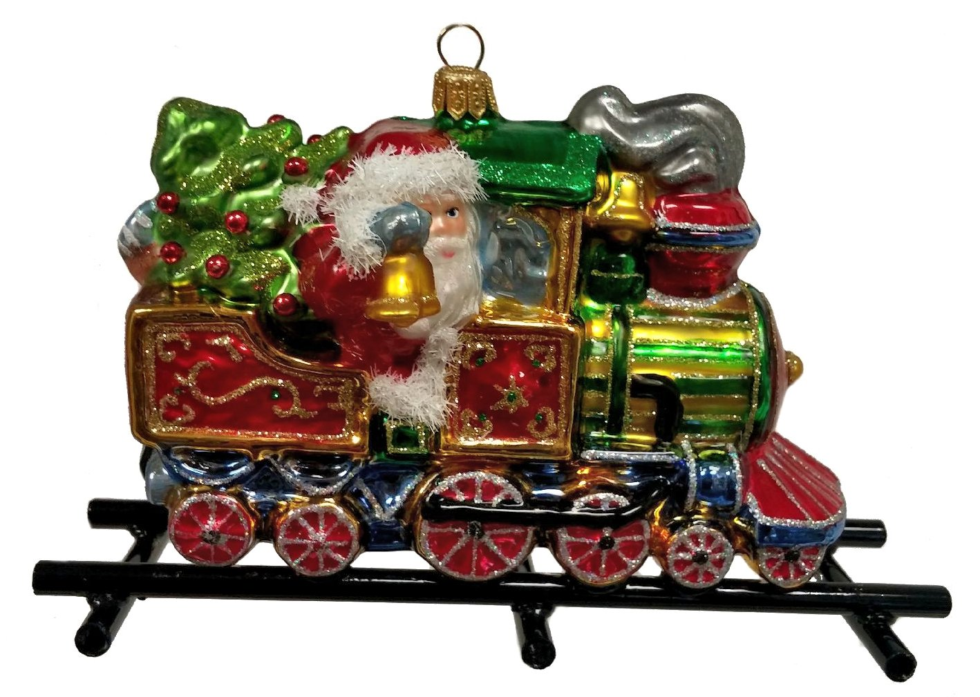 Santa Riding Train on Train Tracks Polish Glass Christmas Ornament Locomotive