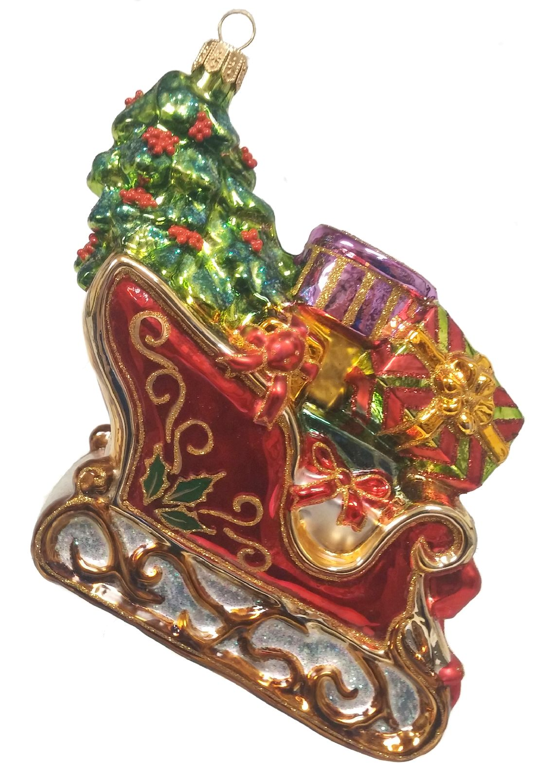 christmas sleigh with tree and presents polish glass ornament decoration