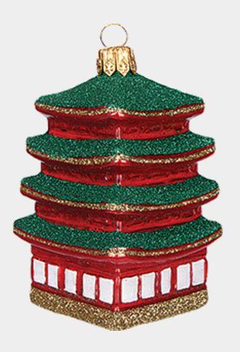 Pagoda Building Polish Mouth Blown Glass Christmas Ornament